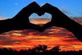 Love hand silhouette — Stock Photo
