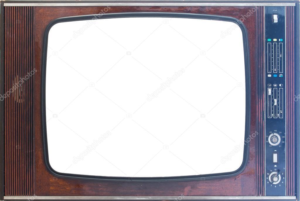 골동품 레트로 나무 tv 세트 프레임 흰색 배경에 고립 — 스톡 ...