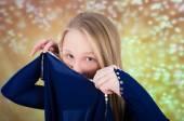 Teen girl in blue dance costume — Stock Photo