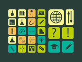 Modern flat vector set of scientific icons — Stock Vector
