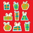 Collection of vector colorful Christmas present boxes. Decorative items. Sticks. — Stock Vector #57382947