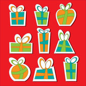 Collection of vector colorful Christmas present boxes. Decorative items. Sticks. — Stock Vector