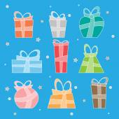 Collection of vector colorful Christmas present boxes. Decoratie items. — Stock Vector