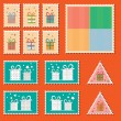 Large set of colorful CHristmas postage stamps. Vintage New Year decoration elements. — Stock Vector #57922999