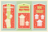 Vintage Christmas and Happy New Year holiday set of sale tags. Christmas sale design. and banners. Vector illustration. — Stock Vector