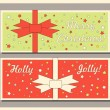 Vintage Christmas holiday greeting cards set with bows. Happy holidays set of tags and bookmarks. Vector illustration. — Stock Vector #58508647