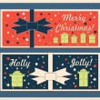 Vintage Christmas holiday greeting cards set with bows. Happy holidays set of tags and bookmarks. Vector illustration. — Stock Vector #58513337