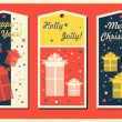 Vintage Christmas and Happy New Year holiday cards set with present boxes. Happy holidays set of tags and bookmarks. Vector illustration. — Stock Vector #58515275
