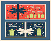 Vintage Christmas holiday greeting cards set with bows. Happy holidays set of tags and bookmarks. Vector illustration. — Stock Vector