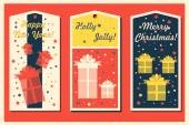 Vintage Christmas and Happy New Year holiday cards set with present boxes. Happy holidays set of tags and bookmarks. Vector illustration. — Stock Vector