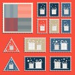 Large set of colorful CHristmas postage stamps. Vintage New Year decoration elements. — Stock Vector #59098689