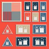 Large set of colorful CHristmas postage stamps. Vintage New Year decoration elements. — Stock Vector