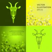 Colorful and thin shapes of the Goat with geometric backgrounds. New Year 2015 illustration. Vector illustration. — Stock Vector