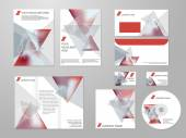 Professional corporate identity kit or business kit with geometric abstract design for your business includes CD, Cover, Business Card, Envelope, Flyers and trif-old brochure. — Stock Vector