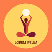Colored yoga pose vector logo design template. Beauty, Spa, Relax, Massage, Meditation, Nirvana concept icon. — Stock Vector