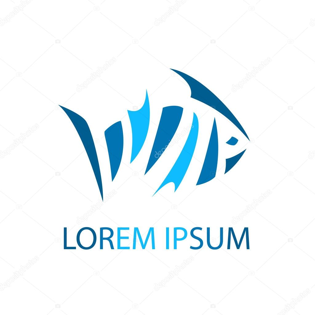 Fish abstract colored logo template sea vector design element