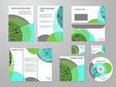 Professional corporate identity or business kit with geometric abstract design for your business includes CD, Cover, Business Card, Envelope, Flyers and trif-old brochure. Eco, biology, beauty and — Stock Vector