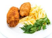 Kip Kiev met geroosterde aardappelen 4 — Stockfoto
