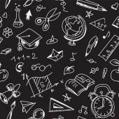 Patrón creativo escuela transparente con dibujos de Calcografía en blackboar — Vector de stock
