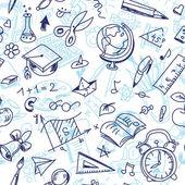 Patrón de la escuela sin costura creativa con dibujos de los niños — Vector de stock
