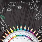 Kreativa chalkboard skolan bakgrund med pennor och protracto — Stockvektor