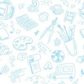 Patrón de la escuela sin costura creativa con dibujos de los niños de azul pluma — Vector de stock