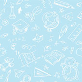 Patrón de escuela sin costura creativa con los niños de blanca pluma de dibujo — Vector de stock