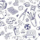 Kreativa sömlös skolan mönster med penna ritningar på vit baksida — Stockvektor