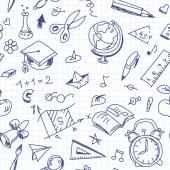 Kreativa sömlös skolan mönster med penna ritningar på kopia bok — Stockvektor
