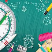 Fondo de vector creativo tiza con útiles escolares — Vector de stock