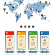 World map with marker, Business 3D digital Infographics — Vecteur #62044317