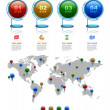 World map with marker, Business 3D digital Infographics — Vector de stock  #62044429