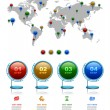 World map with marker, Business 3D digital Infographics — Vector de stock  #62044475