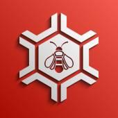 Fond avec l'image de l'abeille — Vecteur