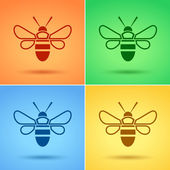 Honey Bee icon, Flat style — Stock Vector