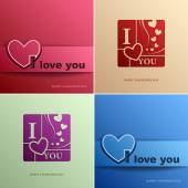 Happy Valentine's Day Set cards with heart vector design element template, Vector illustration Eps 10 — Stok Vektör