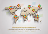 3d vector world map illustration with modern elements of info gr — Stock Vector