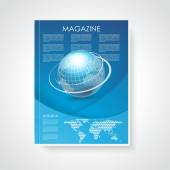 Magazine or brochure cover with world map and globe — Stock Vector