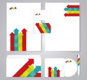 Corporate identity template with color arrows. — Stock Vector