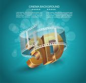 3D word in golden glass with cinema roll — Stock Vector