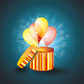 Open gift box with ballons — Stock Vector