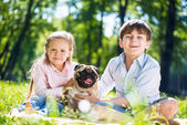 Children in park with pet — Stock Photo