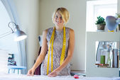 Seamstress in atelier studio — Stock Photo