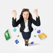 Empresária alegre — Foto Stock