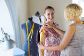 Dressmaker at work — Stock Photo