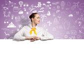 Businesswoman presenting something — Stock Photo