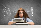 Girl writer — Stock Photo