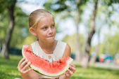 Kid with watermelon slice — Stock Photo