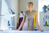 Seamstress in atelier studio — Stock Photo