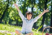 Boy enjoying music — Stock Photo